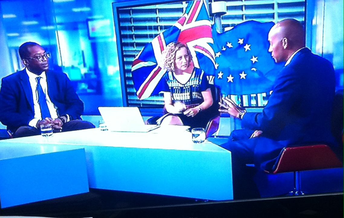 Source: Ch4 news. Left & right are Kwasi Kwarteng and Chuka Umunna, with presenter Cathy Newman
